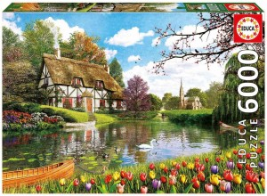 Lakeside Cottage At Spring - Puzzle 6000