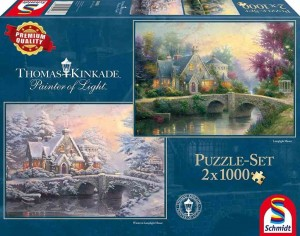 Thomas Kinkade - Lamplight Manor / Winter at Lamplight Manor - Puzzle 2 x 1000