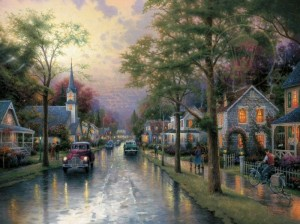 Thomas Kinkade - Hometown Morning - Puzzle 1000